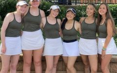 (From left to right) Jenna King, Claire Meursing, Landry Purvis, Kylie Kajioka, Anna Fuehner, and Rylee Day pose for a photo after competition.